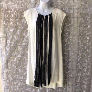 NWOT Lauren Vidal Ivory/Navy Raw Edge Ribbon Dress
